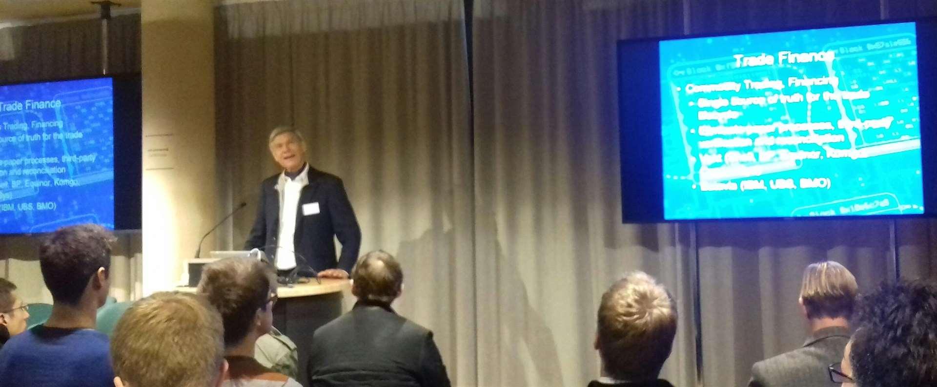 Dr Hermann Hauser at the Blockchain Forum in Cambridge (5692583)