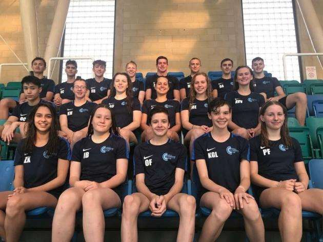 City of Cambridge Swimming Club squad from top row, left to right - Sebastian Vandermeer, Manfred Battle, Maxim De Wilde, Jono Adam, Matt Courtis, Matt Titman, Ben Arkle, Jake Moxham; second row - Ollie Cashin, Katie Hammond, Georgia Crawford (17yrs+ relay), Katrin Heider (17yrs+ relay), Millie Emmans, Almudena Visser Velez (Dutch Nationals); bottom row - Zara Keegan, Imogen Bloomfield, Oskar Farkas, Gracie Kay and Polly Fish.