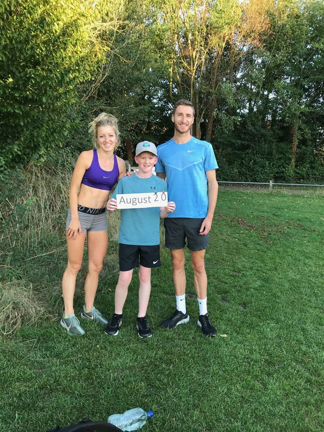 Holly Archer and Marc Scott joined 12-year-old Seb Melero over the summer to support his running charity challenge in Bury St EdmundsPicture: Contributed