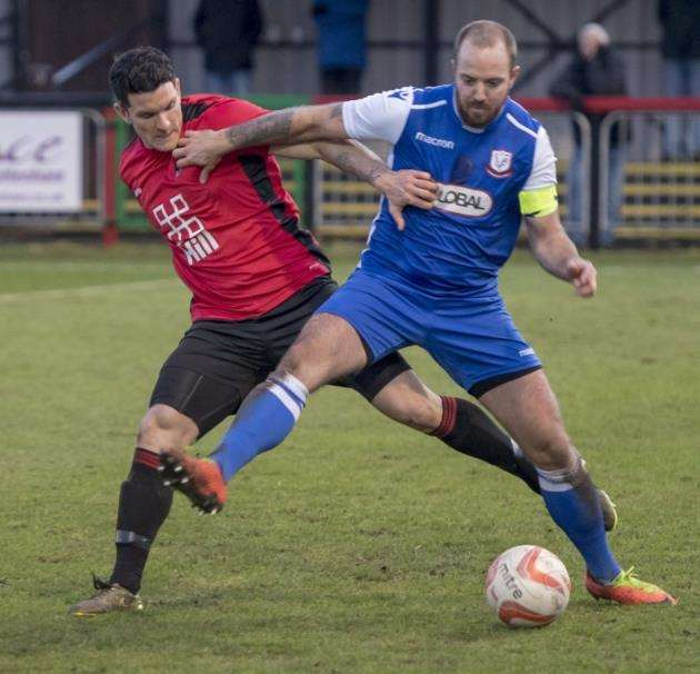 Matt Hayden went close for Histon against Felixstowe & Walton.