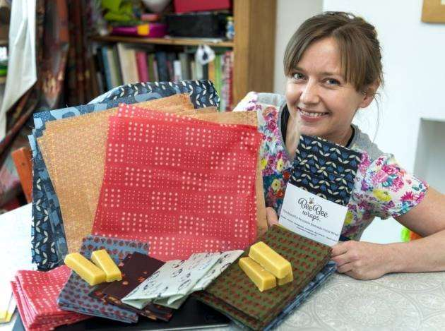 Kath Austin, founder of Beebee Wraps, with some of her products . Picture: Keith Heppell