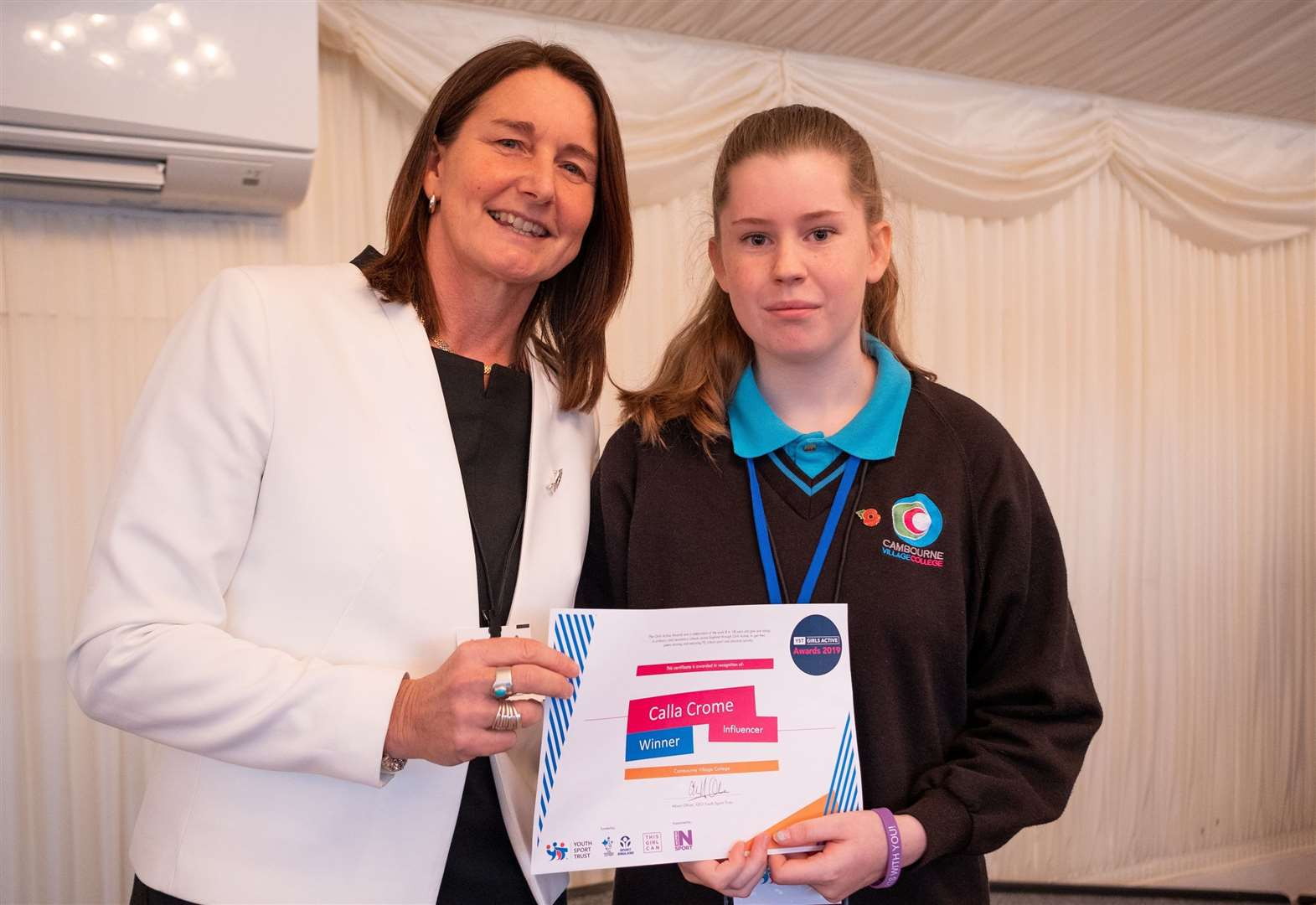 Cambourne Village College student Calla Crome recognised as influencer of the year at Girls' Active Awards 2019