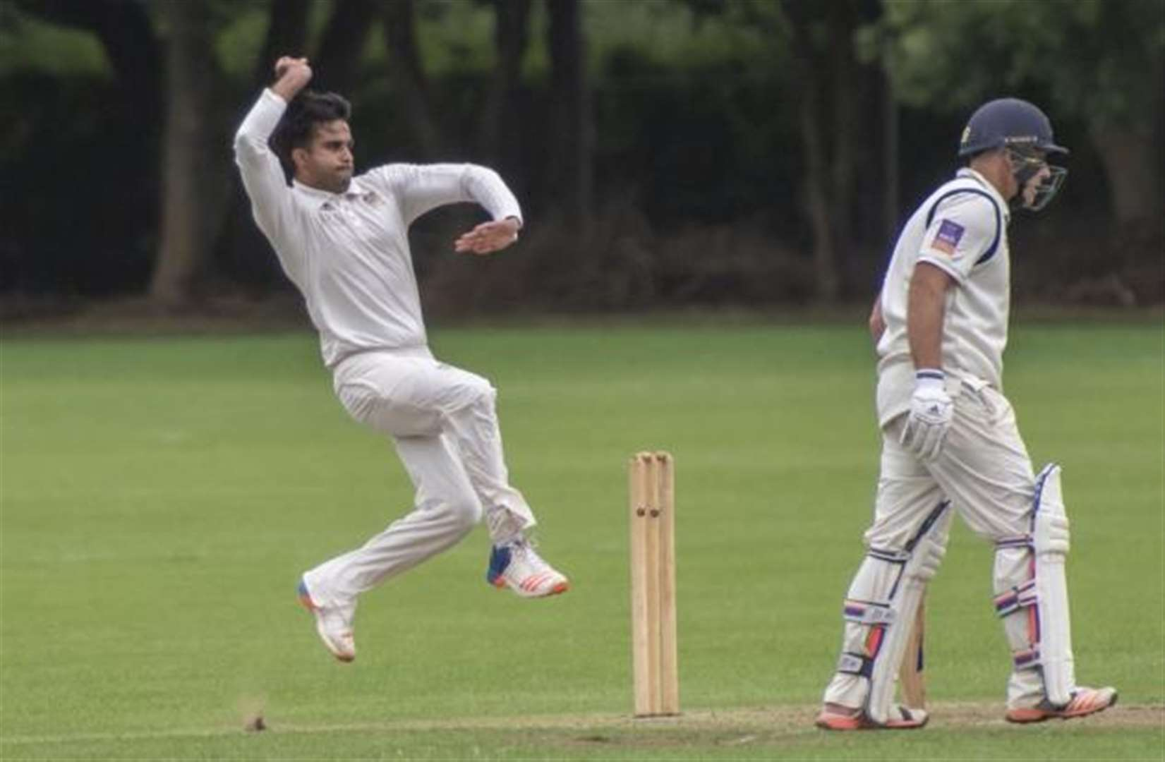 Raj Singh is in full swing for Cambridge Granta in a big to be one of the league's top bowlers