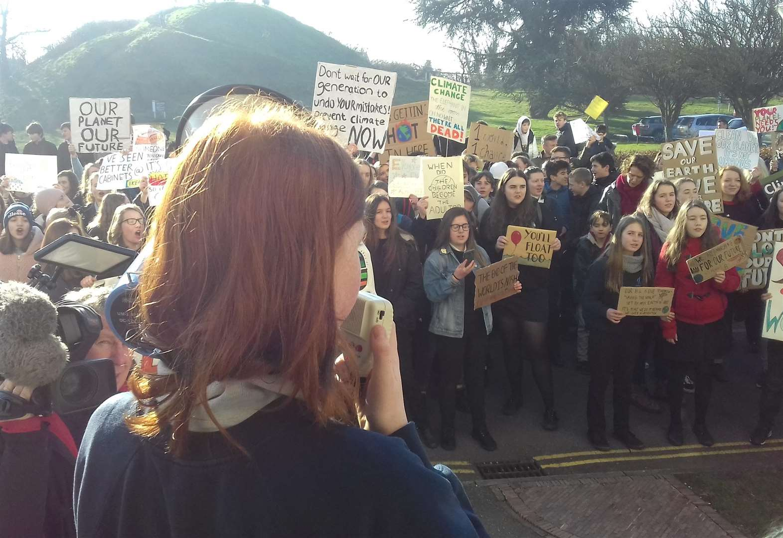 Hundreds 'strike' from school and join YouthStrike4Climate protest in Cambridge