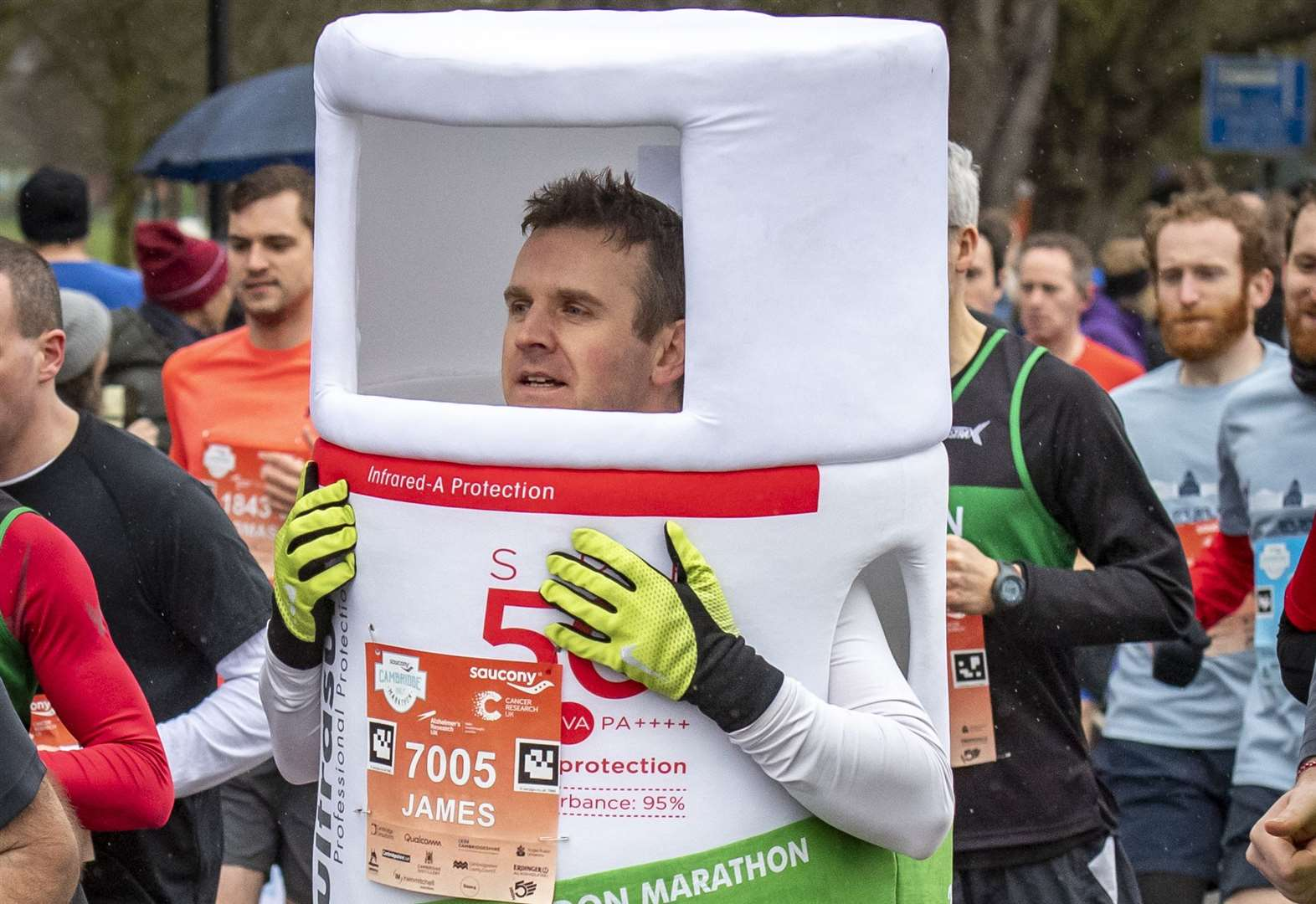 Skin cancer survivor to run marathon dressed as sun lotion for charity