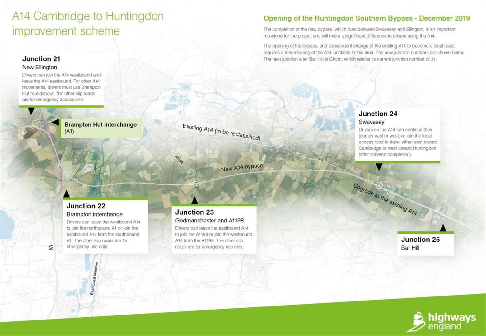Opening date set for part of A14 between Cambridge and Huntingdon
