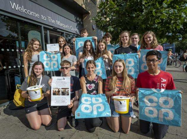 NCS collecting goods from Co-op and will be fundraising in the city centre then delivering care packages to Jimmys Night Shelter, centre front is manager of the Co-op Claire Brewer. Picture: Keith Heppell