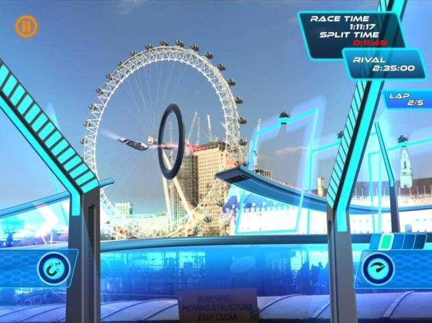 A screenshot from Virtual Arts Lightstream Racer, available on iOS