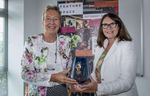 Featurespace, Hauser Forum, Queens Award presentation to Featurespace by Julie Spence, Lord Lieutenant of Cambridgeshire to right CEO Martina King at the Broers Building. Picture: Keith Heppell