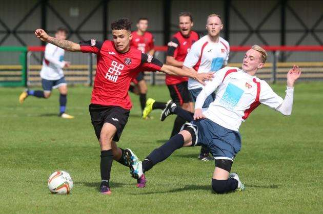 Joe Sutton in action for Histon against ON Chenecks. Picture: Rich Marsham.