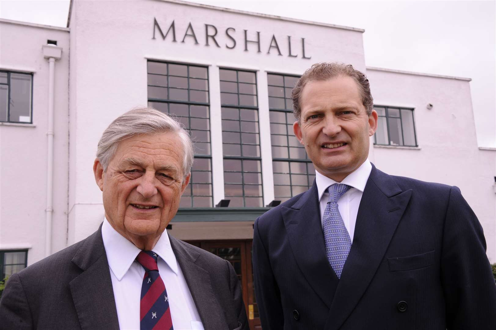 Sir Michael Marshall with his son Robert Marshall outside Marshall's headquarters in Cambridge (26882341)