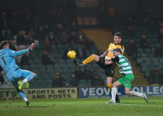 Barry Corr scores for Cambridge United against Yeovil Town. Picture: Cambridge United