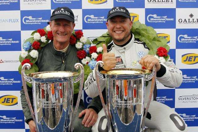 Andy Wolfe, left, and Rob Huff after their win at the Silverstone Classic.