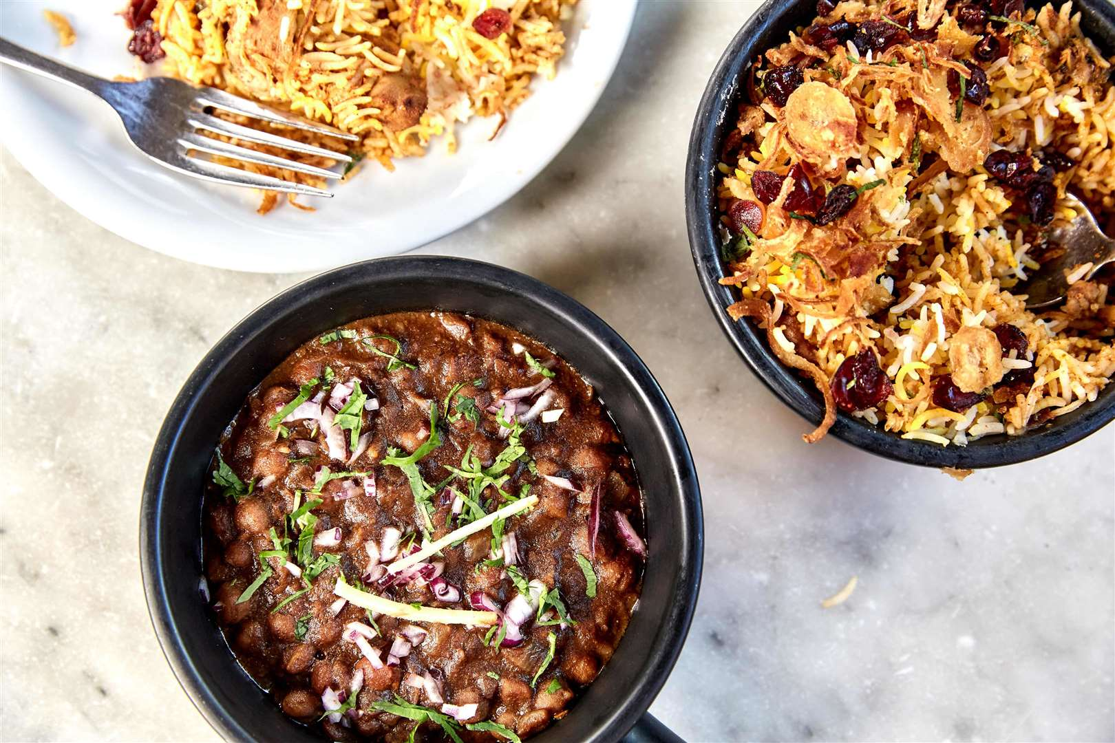 Dishoom Delivery chole and biryani. Picture: Charlie McKay