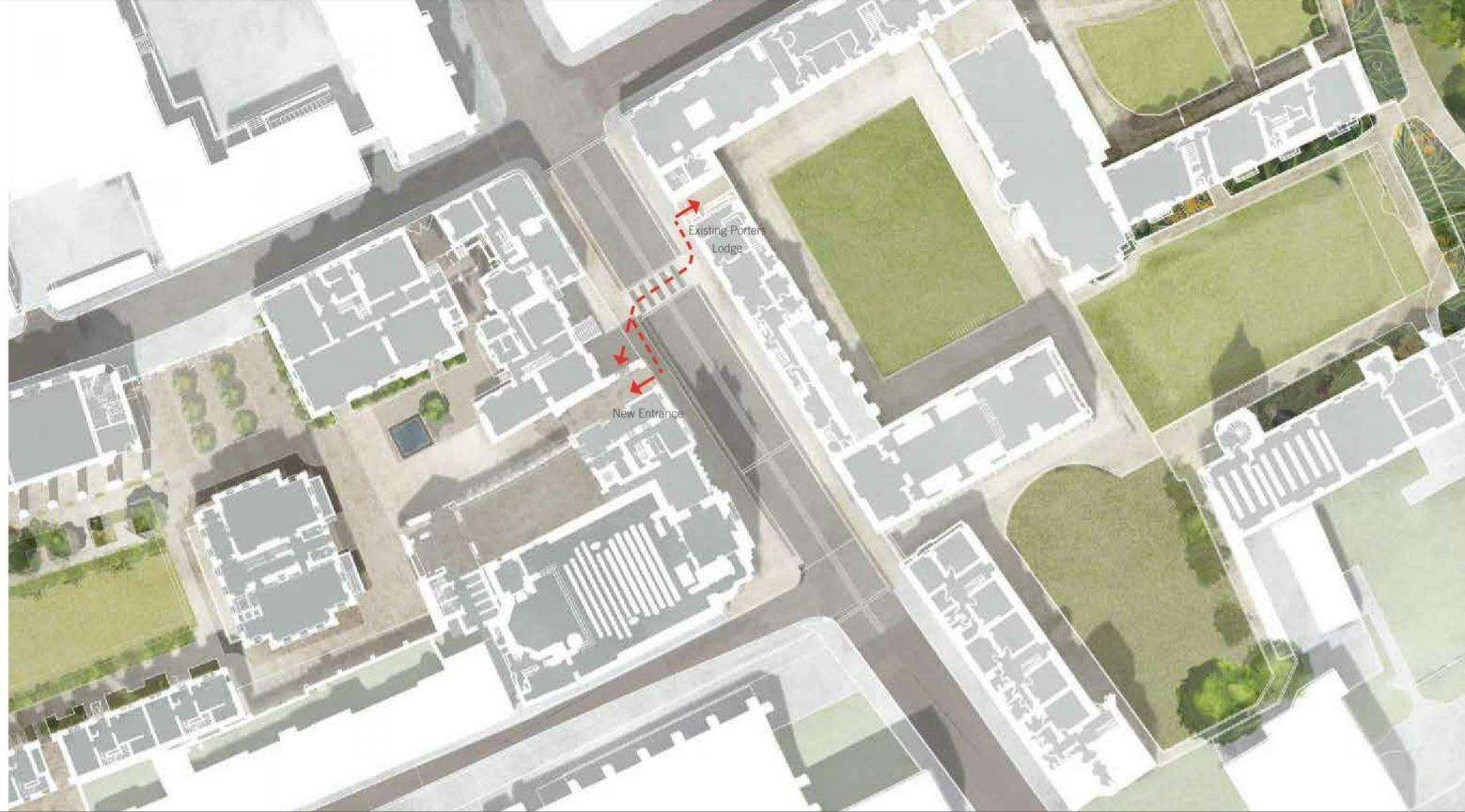 The Trumpington Street crossing -- part of the Pembroke College proposed development. Image: Haworth Tompkins (6926414)