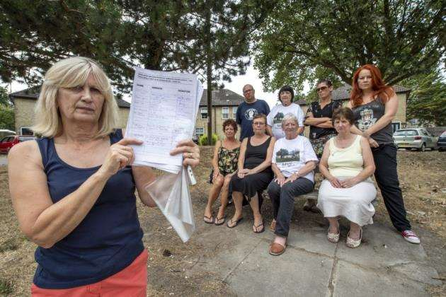 Residents from Montreal Square, Cambridge, with their petition against the demolition of their homes. Picture: Keith Heppell