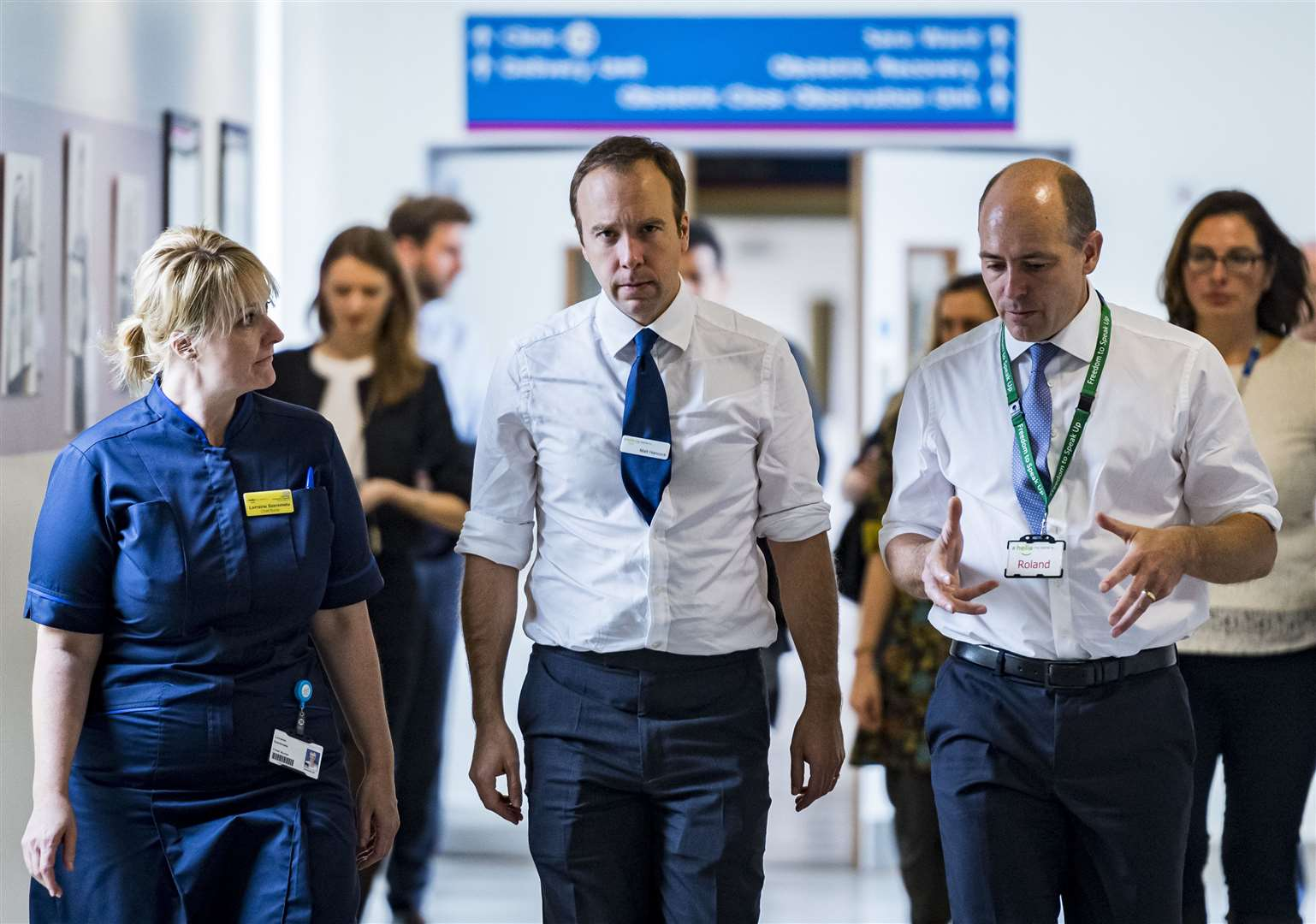 From left, chief nurse Lorraine Szeremeta, health secretary Matt Hancock, and Cambridge University Hospitals chief executive Roland Sinker. Picture: Keith Heppell