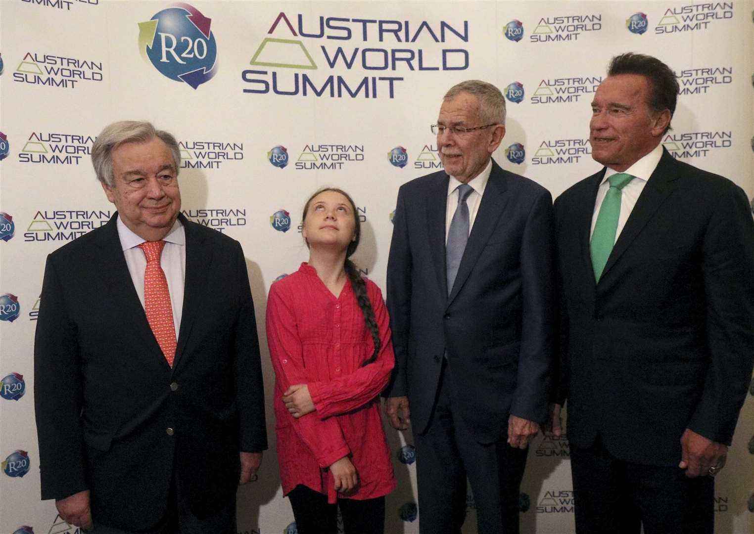 Greta Thunberg with UN secretary-general Antonio Guterres, Austrian president Alexander Van der Bellen and former California governor Arnold Schwarzenegger. The teenage environmentalist said this week that politicians wanted pictures with her to make them 'seem like they care' about climate change. Picture: Ronald Zak/AP