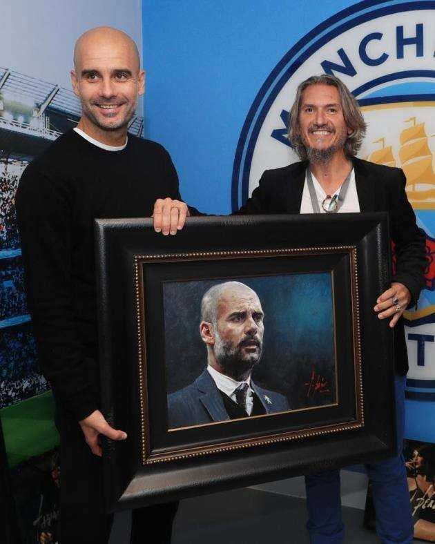 Pep Guardiola with artist Fabian Perez