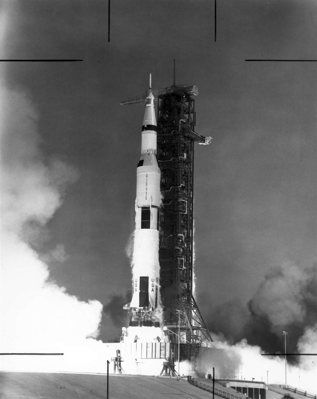 The Saturn V launch vehicle, developed by the Marshall Space Flight Center (MSFC) under the direction of Dr. Wernher von Braun, lifts off from the Kennedy Space Center (KSC), Florida carrying the Apollo 11 spacecraft and crew. Picture: NASA (14042051)