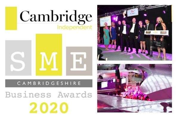 The SME Cambridgeshire Business Awards 2020 logo - with some of last year's winners
