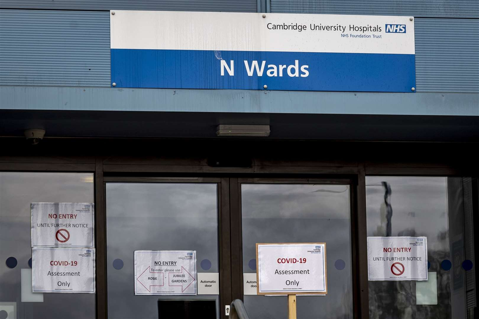 An Addenbrooke's Hospital ward with signs saying Covid-19 patients only. Picture: Keith Heppell