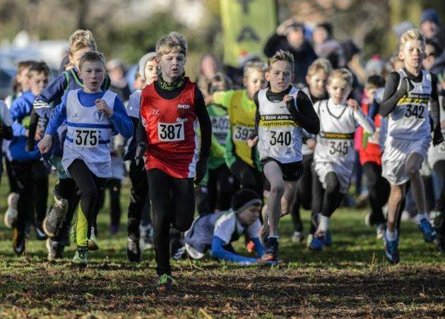 Athletes in action at the Cambridgeshire AA Cross Country Championships at Priory Park, St Neots. Picture: Paul Sanwell/OP Photographic