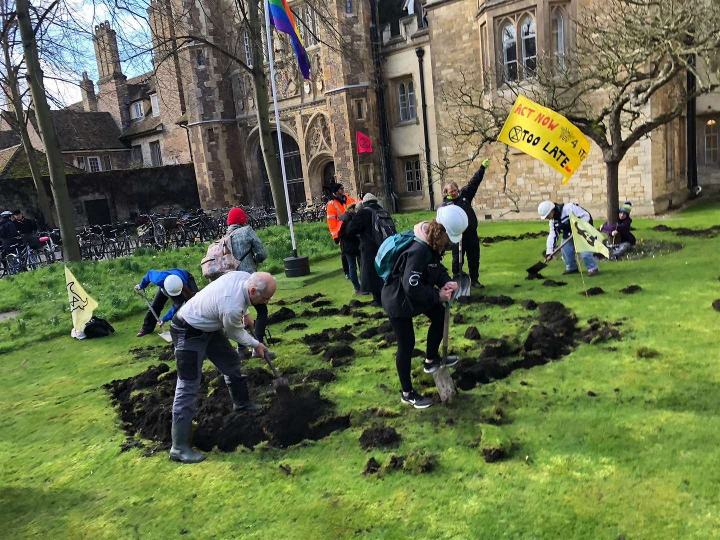 Extinction Rebellion dig up the lawn at Trinity College Picture:Keith Heppell (29432294)