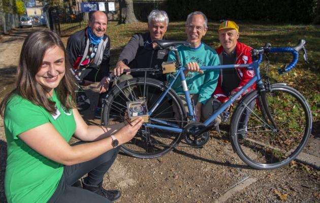Johanna K�lbel part of the CamBike Sensor team at Fitzwilliam College and one of the sensor boxes that are attached to bikes, with some of the volunteer cyclists from left John Jackson, John Seaton, Jonathan Griffiths and Allan Tullett. Picture: Keith Heppell