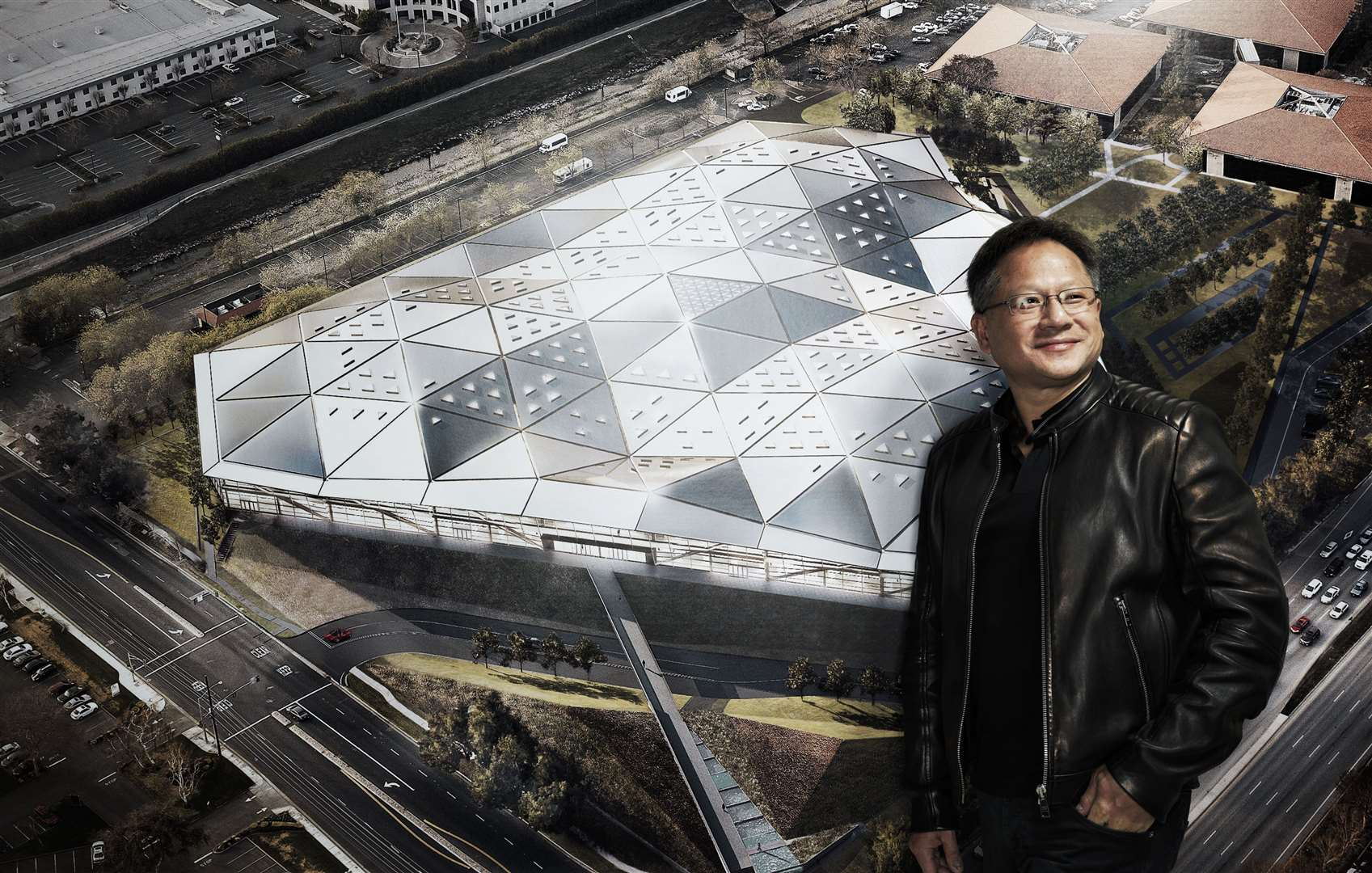 Jensen Huang, co-founder and CEO of NVIDIA, with a print of an architectural rendering of the company's Endeavor HQ in California. Picture: NVIDIA