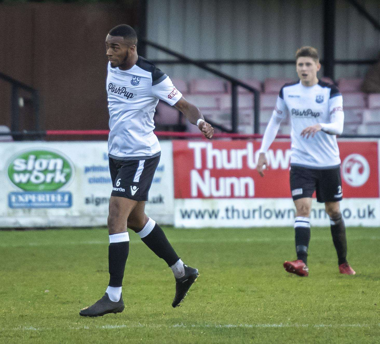 Keano Robinson scored twice for Cambridge City against Dunstable Town.