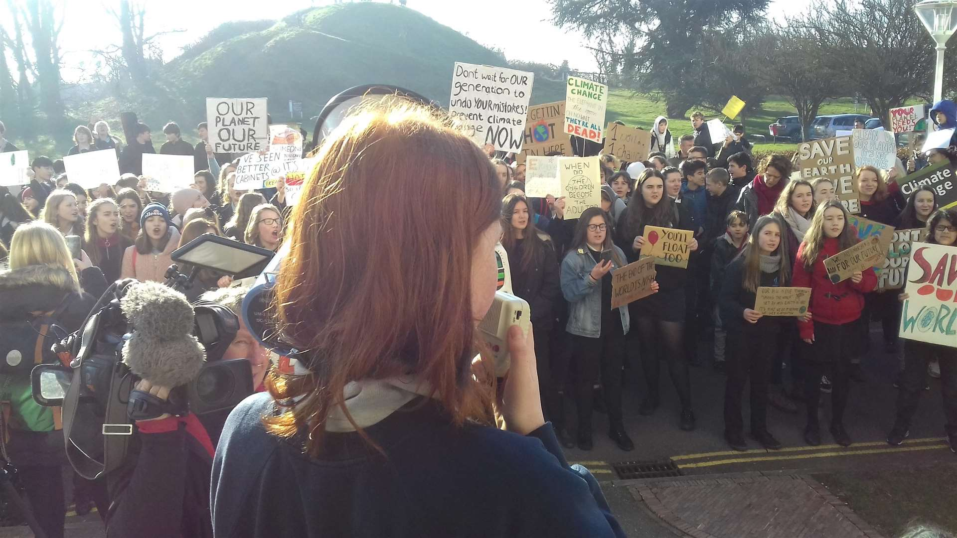Ella Hone, 11, addresses the crowd outside Shire Hall. Picture: Mike Scialom