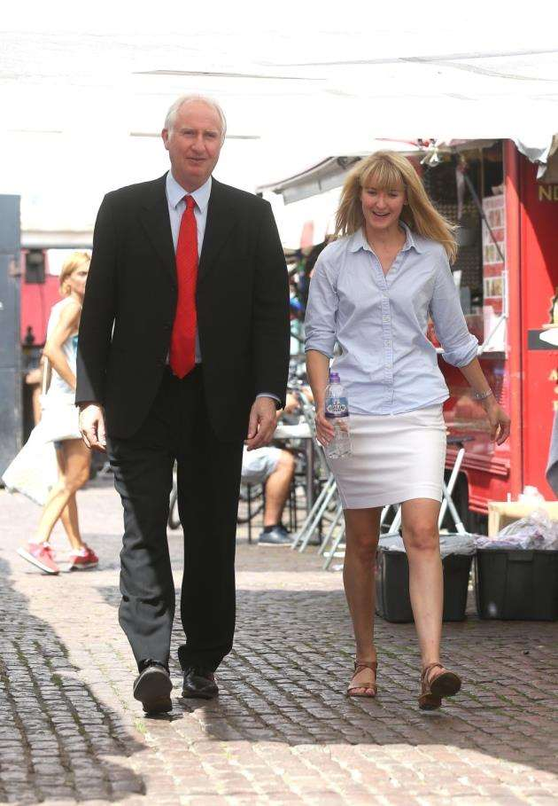 MP for Cambridge, Daniel Zeichner and his PA, Jenna Drler pictured in Cambridge Market. Picture - Richard Marsham