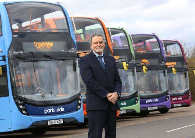 Stagecoach East managing director Andy Campbell with new greener Park & Ride fleet