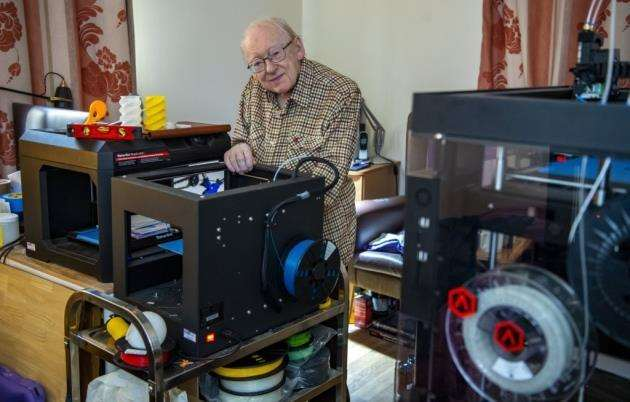 Former engineer John Downes at Home Meadow care home, Toft, with some of his 3D printers. Picture: Keith Heppell