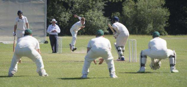 Great Shelford v Granta II - Great Shelford Recreation Ground, Cambridge, James van de Peer bowling. Picture: Keith Heppell