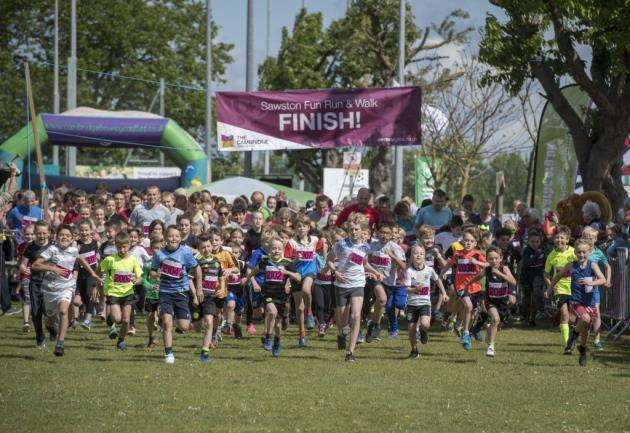 Sawston fun run, at Sawston Village College, the start of the short race. Picture: Keith Heppell