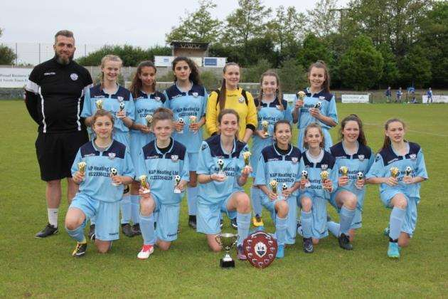 Cambridge City under-14s win the county cup.