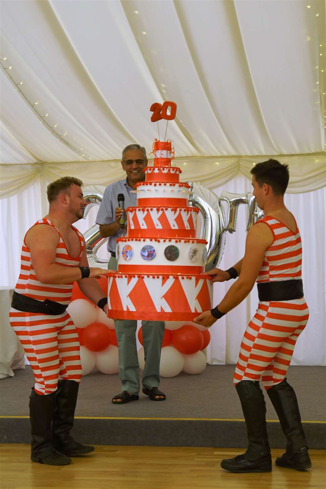 Dr Harren Jhoti, CEO of Astex, is presented with an ernomrous - but sadly inedible - birthday cake at the company's 20th annivesary party at Longstowe Hall. Picture: Paul Brackley (13508412)