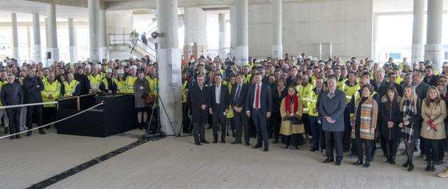 Hundreds attended the AstraZeneca topping-out ceremony