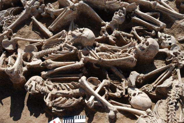 A mass burial of battle victims from the Xiongnu period in Omnogobi, Mongolia, from which scientists extracted ancient DNA from for the study. One of these Xiongnu warriors who fell in battle in Omnogobi carried an ancient HBV sequence. Picture: Alexey A Kovalev