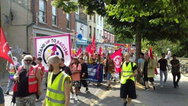 Stand Up Against Racism march turns into Norfolk Street