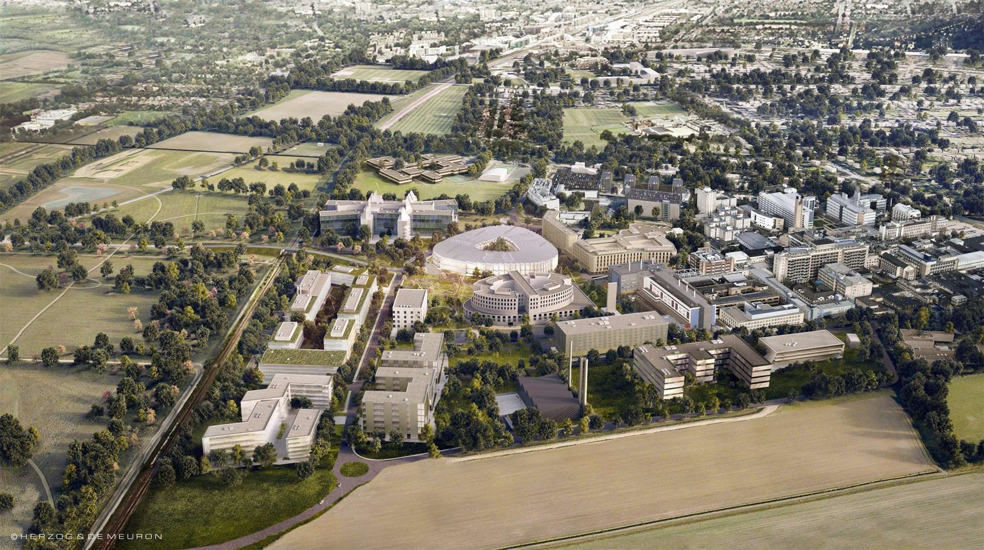 Bird's eye vision of AstraZeneca at Cambridge Biomedical Campus. (7974034)