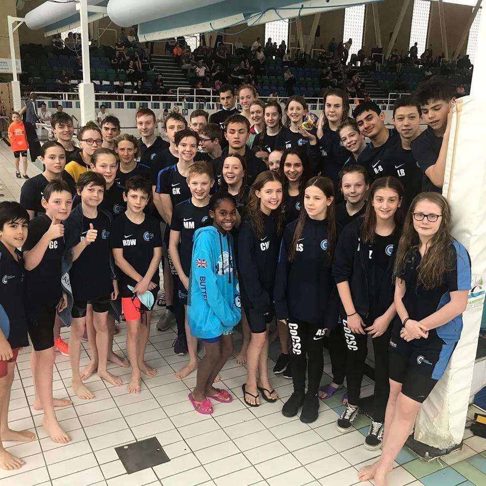 City of Cambridge Swimming Club squad that were successful at the county championships. (7144902)