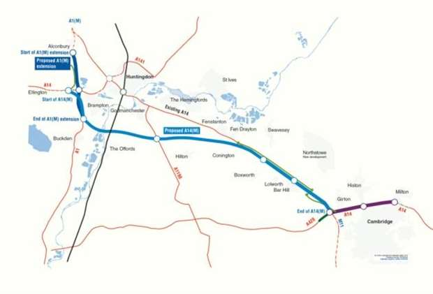 Motorway Map Of England.18 Mile Section Of Upgraded A14 Set To Become New Cambridgeshire