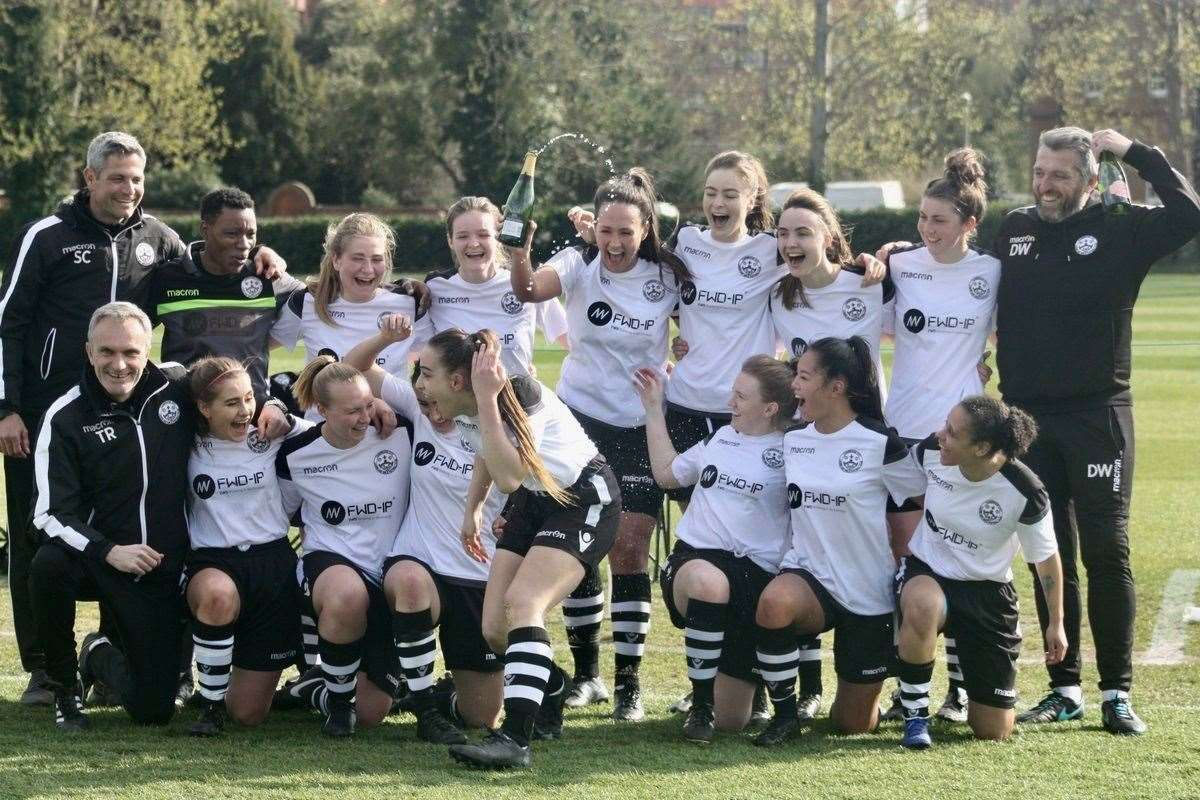 Cambridge City Ladies celebrate their Eastern Region Women's Football League, Premier Division title. Picture: Pauline Muncey (8194271)
