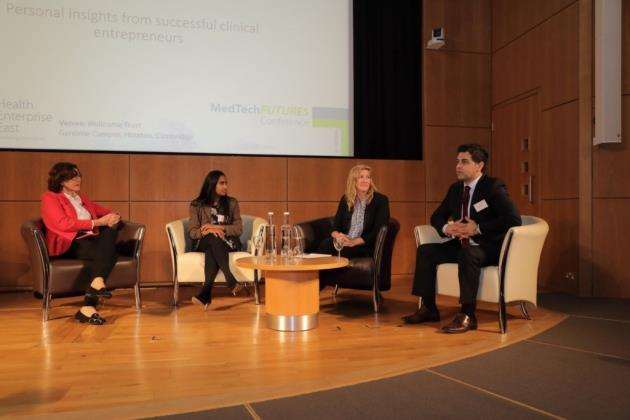 MedTech Futures panel with presenter Vivienne Parry and Waheed Arian, right