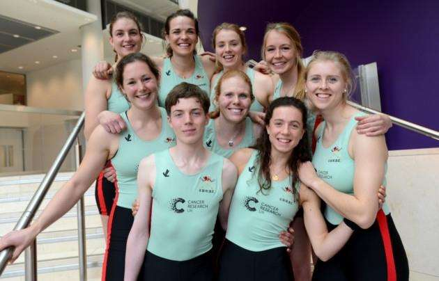 Cambridge University Womens Boat Club. Francis Crick Institute, Midland Road, London. Announcement and launch for Boat RaceTeams 2017. Cambridge Ladies with their cox Matthew Holland. Pic: Vikki Lince