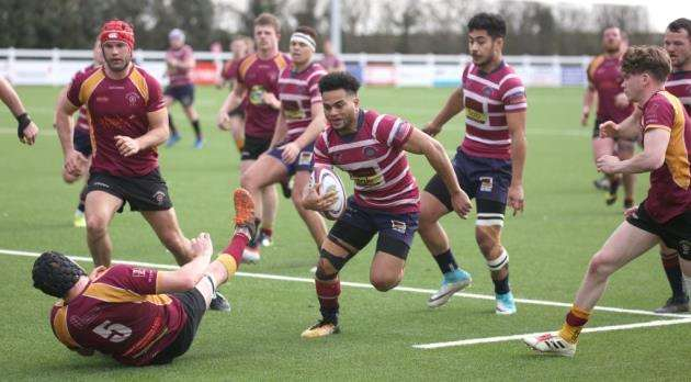 Anzelo Tuitavuki in action for Shelford against Towcestrians. Picture: Richard Marsham