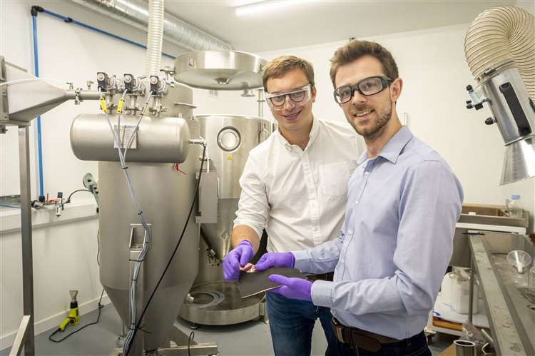 Sawston-based Echion Technologies is developing 1kg of new battery material a day thanks to technology developed by co-founders, Jean de la Verpilliere, CEO, and Alex Groombridge, CTO, right. Picture: Keith Heppell